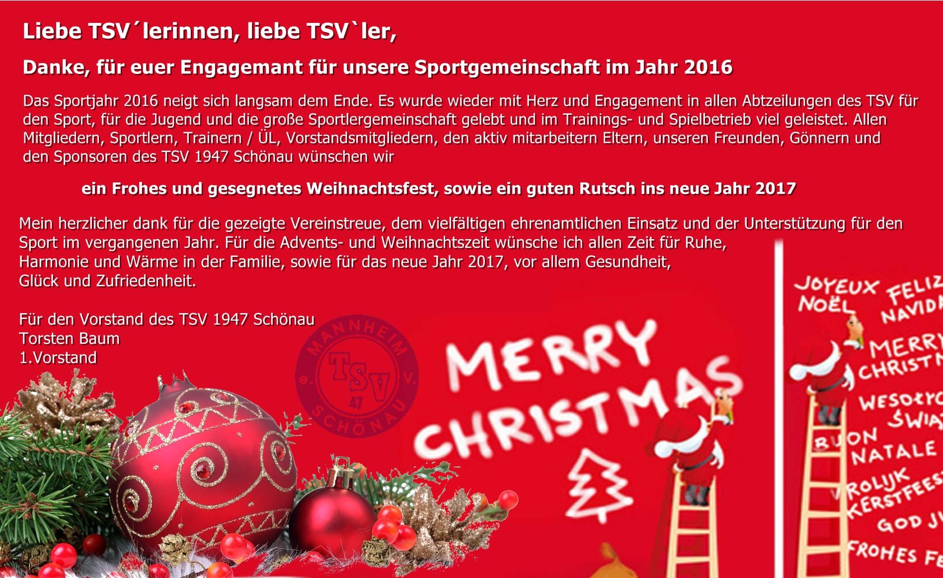 Weihnachtsgrüße An Eltern.Weihnachtsgrüße Von Torsten Baum Tsv 1947 Mannheim Schönau E V